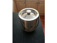 2 Litre Double Walled Insulated Stainless Steel Ice Bucket with Lid, Carry Handle