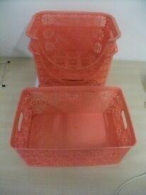 3 Plastic Baskets .