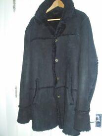 Genuine Sheepskin Coat, Black