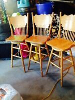 Country styled swivel bar stools