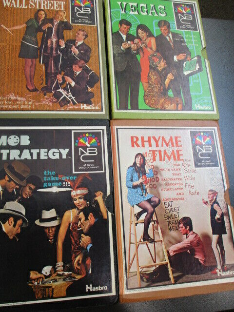 Lot of 4 Vintage NBC Hasbro Games  Includes Wall Street, Vegas, Mob Strategy,++