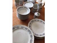 White & blue floral dinner set