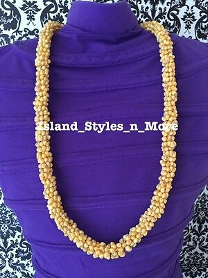 Hawaii Wedding MONGO Shell Kukui Nut Lei Necklace Jewelry Graduation Luau YELLOW
