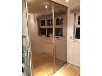 Sliding Mirrored Wardrobe doors, 2 door bronzed mirrors with gold surround