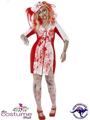 16 - PLUS Size 30 Zombie Nurse Fancy Dress Halloween Costume - Plus Size Womens Zombie Costume