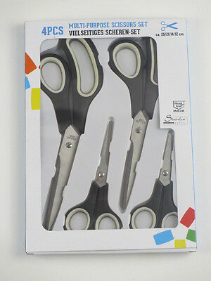4 tlg. Scheren Set Edelstahl Universalschere Haushaltsschere Klinge Küche teilig