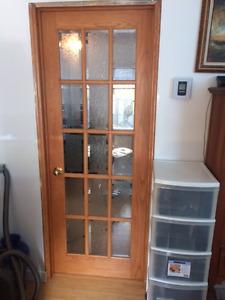 porte Francaise en chêne massif avec vitre biseauté