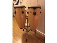 "Good quality Stagg congas 10 11"" with stand. Used good condition."