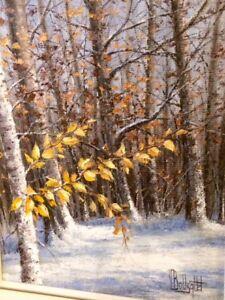 Superbe toile du peintre Bousquet - Paysage d'hiver