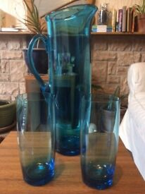 Vintage Tall Blue Glass Jug with 2 glasses