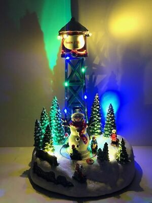 Animated Musical LED Christmas Water Tower Snow Village