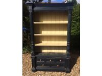 Kitchen pine dresser in blue and yellow. Very solid . Five drawers . Adjustable shelving