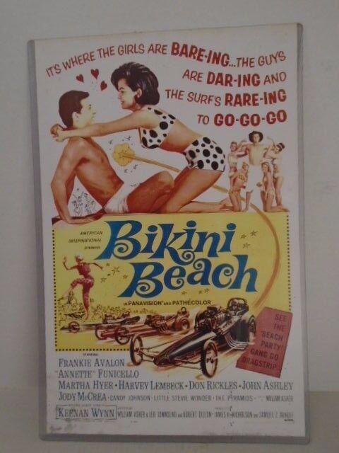 Bikini Beach Frankie Avalon Annette Funicello Movie Laminated Sign Poster Party