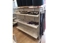 Moveable Shop Floor Display Units in White Oak and Grey Metal