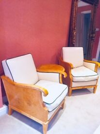 Pair of Biedermeier 1930s Arm Chairs and Art Deco Table 1920s