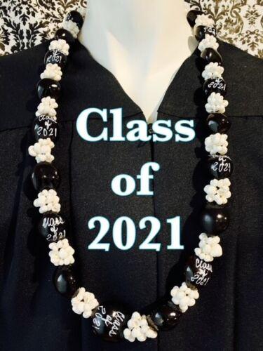 Hawaiian Kukui Nut Lei with MONGO SHELLS Class of 2021 Graduation Lei Necklace