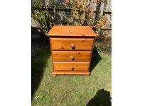 Solid pine 3 drawer cabinet