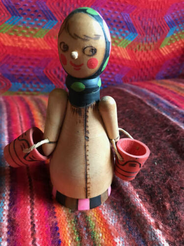 Hand Carved/Painted Russian Woman w/ Buckets-Very Good Condition-Bright Colors
