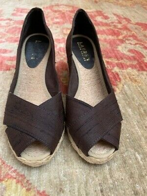Ralph Lauren Cecilia Wedge Peep Toe Shoes Dark Brown Shantung 6.5 Med.