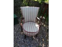 pretty vintage wooden framed upholstered armchair