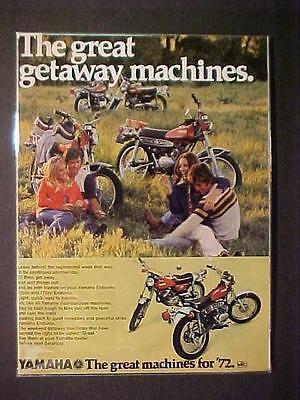 OLD ~JAPAN JAPANESE YAMAHA MOTORCYCLE MOTOR BIKE ART PRINT AD~ ORIG VINTAGE 1972