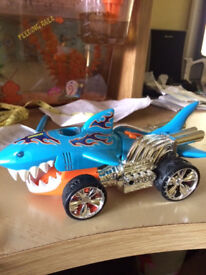 hot wheels shark car moves across the floor mouth opens, sounds etc