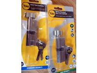 Yale Euro turn cylinder X2 Brand new in packaging £16 bargain