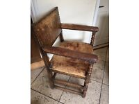 Leather upholstered chairs - 2 armchairs and 4 chairs