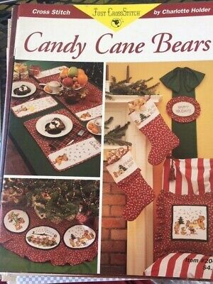 """CHARLOTTE HOLDER """"CANDY CANE BEARS"""" - CHARTED LEAFLET - NEW -1994"""