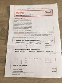 Flight Tickets x 2 Glasgow to Faro Return Portugal 15th - 29 July 2017