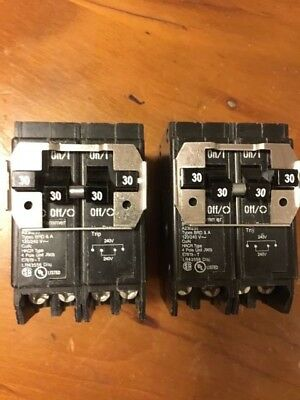 Two Eaton 4-pole Quad Circuit Breaker Type Br 30-amp Cutler Hammer