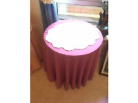 MDF small round table with choice of tablecloth