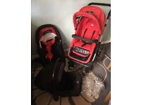 Obaby zuzu/sport travel system,extra seat,cosy toes etc,inc car seat