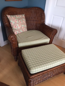 Large Wicker Chair with Ottoman