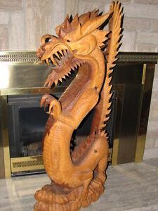 Wooden Hand Carved Dragon Stratford Kitchener Area image 4