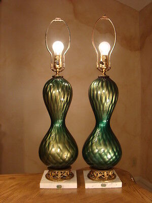 BEAUTIFUL RARE VINTAGE  PAIR IRIDESCENT GREEN ITALIAN MURANO GLASS LAMPS.