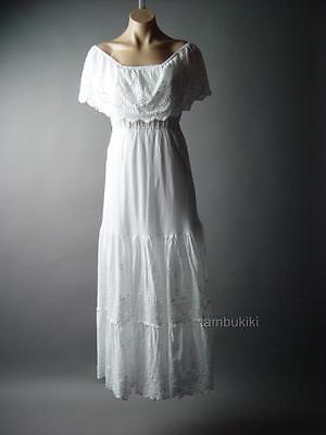 Eyelet Ruffle Off The Shoulder Mexican Peasant 70s Maxi 236 mv Dress 1XL 2XL 3XL - 70's Dress Attire