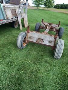 Old wooden wagon running gear-REDUCED