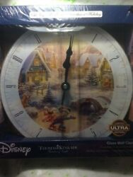 Disney Mickey n Minnie Sweetheart Holiday Glass Wall Clock Thomas Kinkade NEW