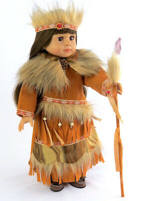 Doll Clothes Brown Native American Costume & Spear For 18