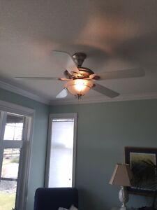 Modern Pewter Ceiling Fan with Fixture