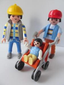 Playmobil Dollshouse family figures: Mum & dad, and cute baby in buggy NEW
