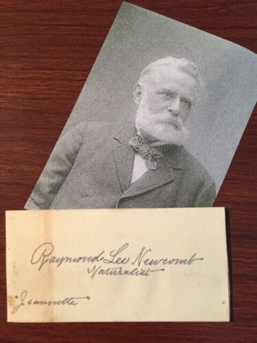 RAYMOND L NEWCOMB SIGNED SLIP JEANNETTE ARCTIC EXPEDITION NATURALIST ASTRONOMER