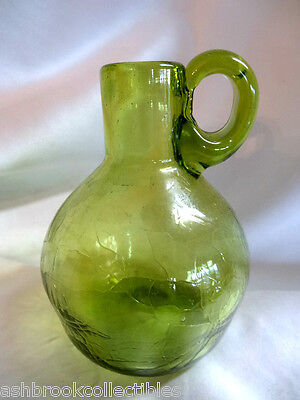 Hand Made Crackle Glass Avacodo Green Pitcher Jug