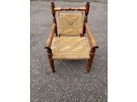 Carved Indonesian wicker chair