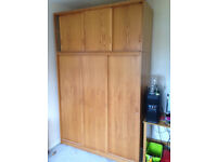 Large Wooden Wardrobe Triple Unit 3 Sliding Doors With Separate Top