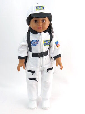 White Nasa Astronaut Outfit  by American Fashion World for 18'' Dolls