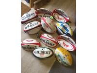 11 Full Size Rugby Balls and 1 Mini Ball some signed most unused WRU Wales Rugby