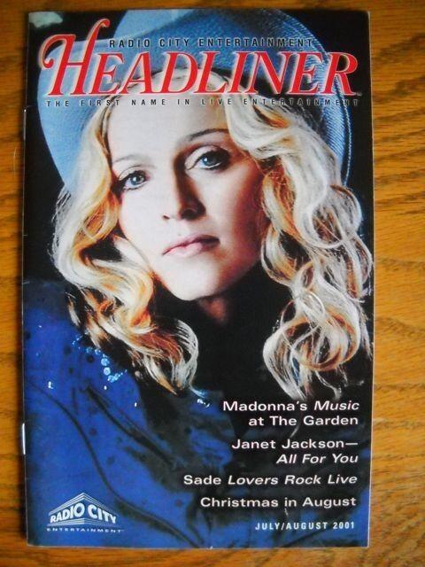 Madonna ( music tour ) Headliner Radio City Magazine 2001 Janet Jackson Sade