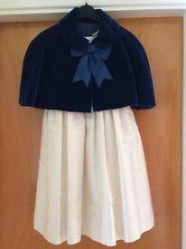 Silk ivory bridesmaid dress with handmade velvet cloak - age 3-4